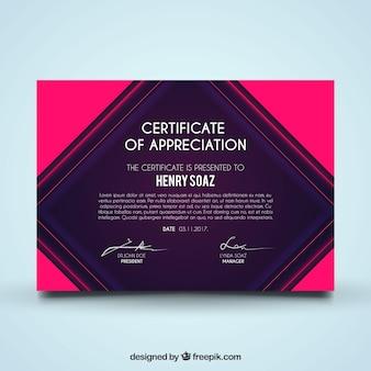Diploma de reconocimiento en estilo abstracto