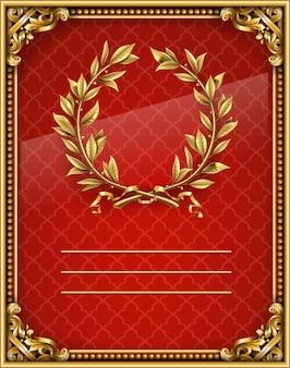 Diploma rojo barroco dorado. corona de laurel de oro.