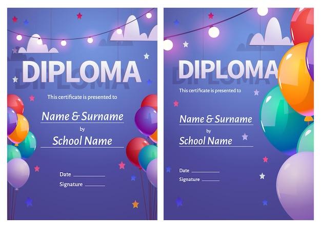 Diploma de vector para niños con globos de colores