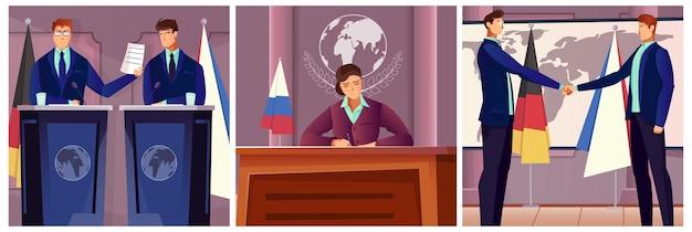 La diplomacia y la política establecen la ilustración.