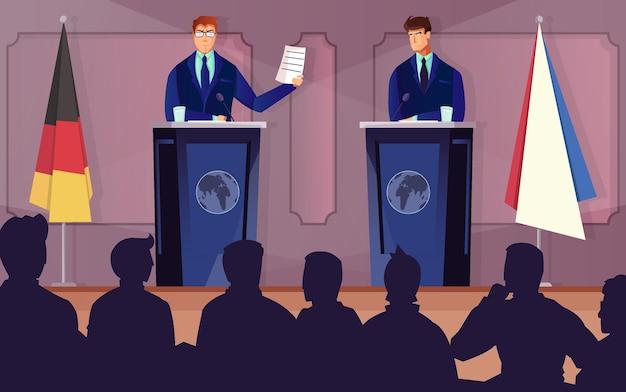 Diplomacia y tribuna con símbolos de discusión de tratados planos