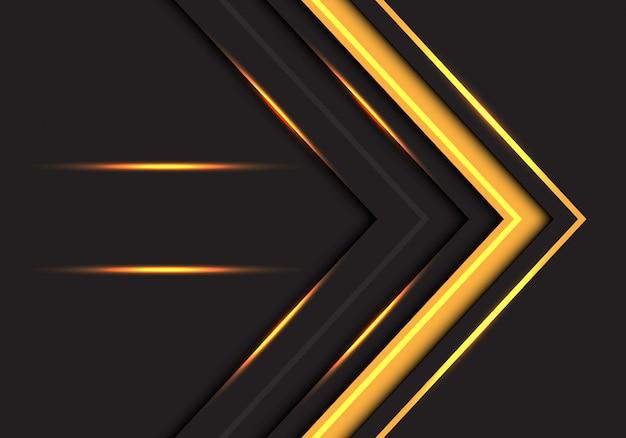 Dirección abstracta de la flecha de la luz amarilla en fondo gris oscuro.