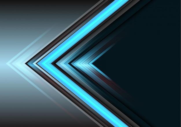 Dirección azul de la potencia ligera de la flecha en fondo gris.