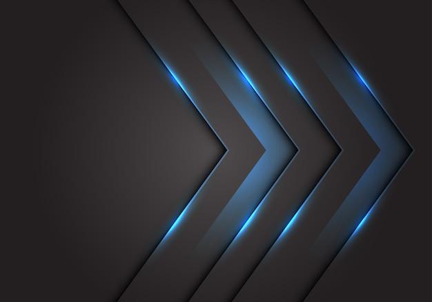 Dirección de flecha 3d de luz azul, fondo de espacio en blanco gris oscuro.
