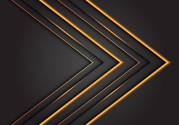 Dirección de flecha de línea amarilla abstracta sobre fondo futurista de lujo gris.