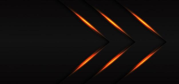 Dirección de la flecha de la línea de luz dorada triple abstracta sobre fondo futurista de lujo moderno gris oscuro.