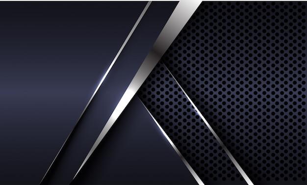 Dirección de flecha de línea plateada con fondo futurista de lujo de malla de círculo gris oscuro.