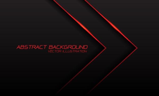 Dirección de flecha de luz de línea roja con espacio en blanco y texto sobre fondo negro.