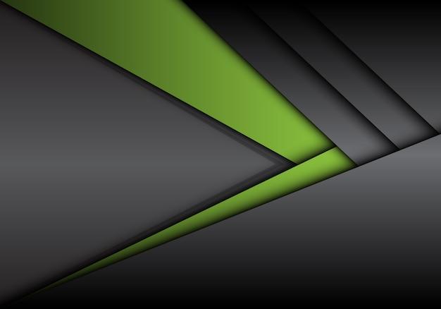 Dirección de flecha metálica gris verde abstracto con fondo en blanco.