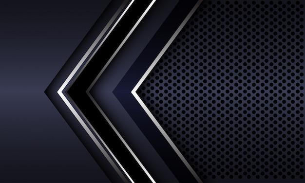 Dirección de flecha negra plateada con fondo futurista de lujo de malla de círculo gris oscuro.