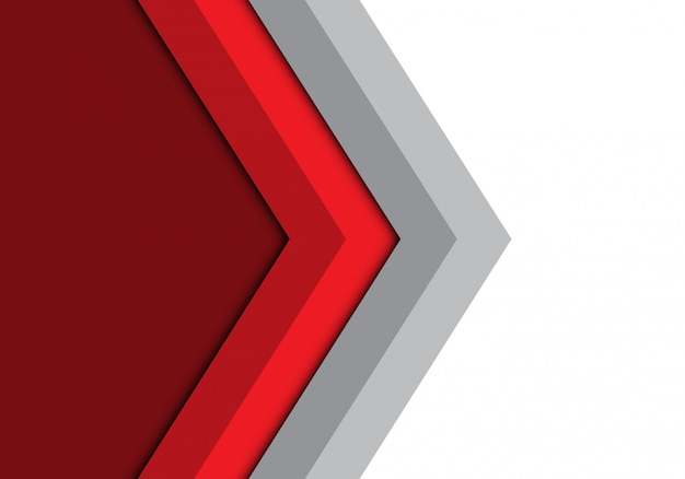 Dirección gris flecha roja fondo aislado.