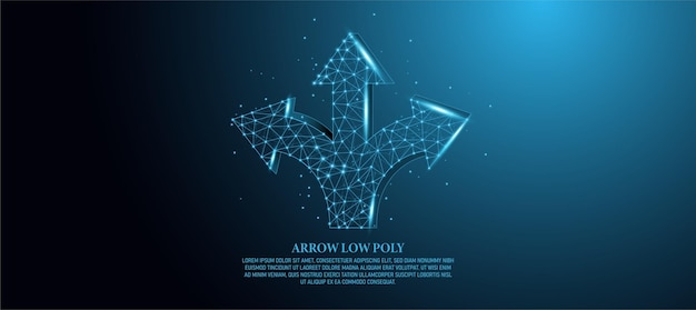 Dirección, intersección, flecha de tres vías, resumen, contorno digital, ilustración concepto de selección de cruz de baja poli con línea punteada cielo estrellado sobre fondo azul