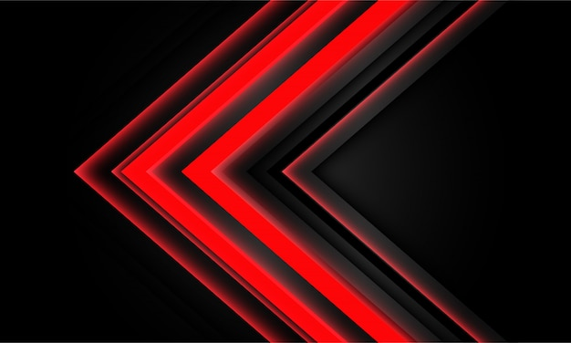 Dirección de luz de flecha de neón rojo abstracto sobre fondo negro.