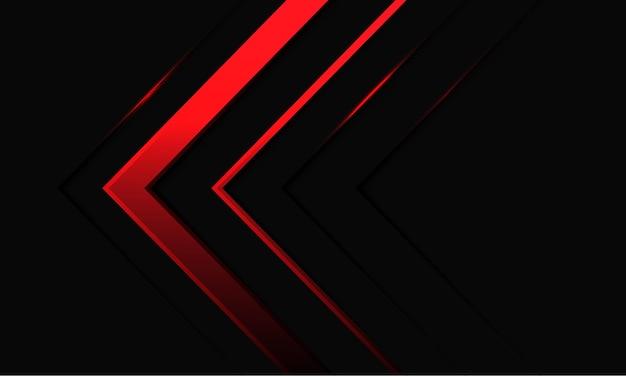Dirección de luz de neón de flecha roja abstracta en ilustración de fondo metálico negro.