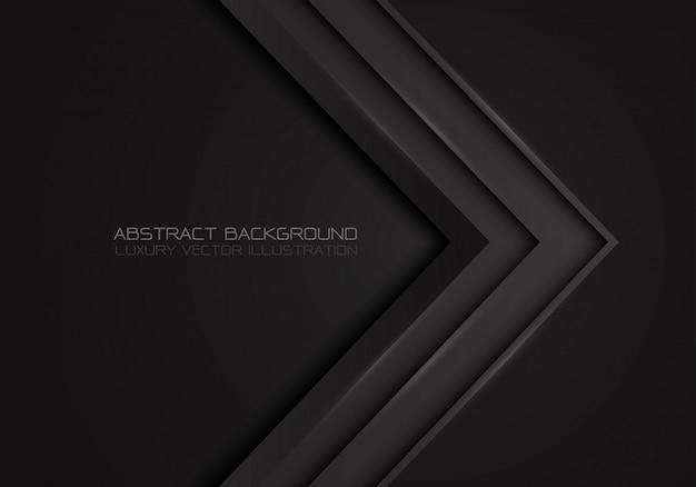 Dirección metálica de flecha gris oscuro sobre fondo negro de lujo.