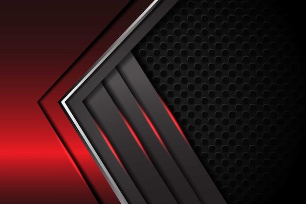 Dirección metálica de flecha de plata gris rojo abstracto con patrón de malla de círculo diseño de superposición de lujo fondo futurista moderno