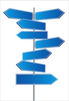 Dirección señales de tráfico flechas en el cielo azul. ilustración.