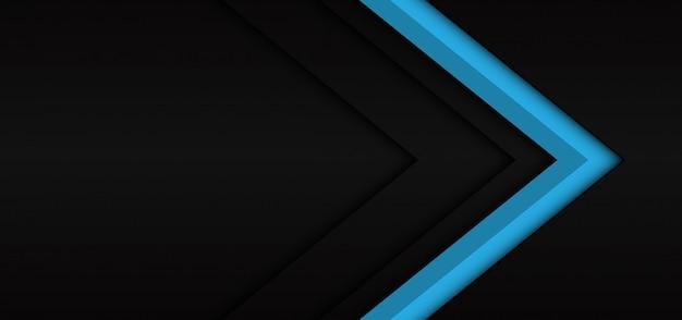 Dirección de la sombra oscura de la flecha azul abstracta sobre fondo futurista moderno negro.