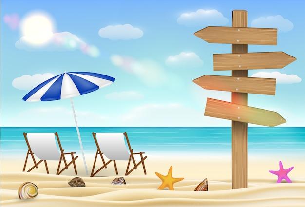 Dirección tablero de madera signo en la playa de arena de mar