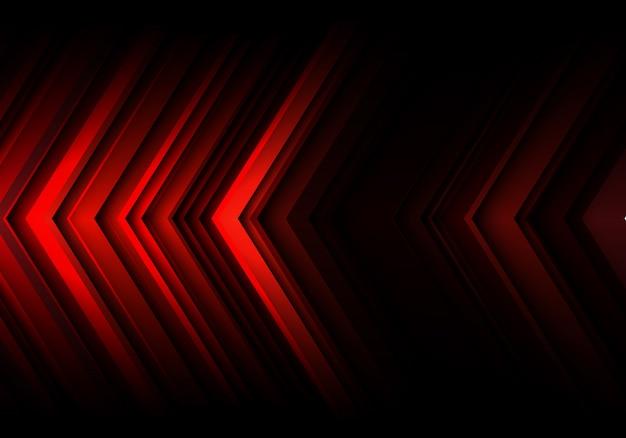 Dirección de velocidad de flecha de línea de luz roja sobre fondo negro tecnología.