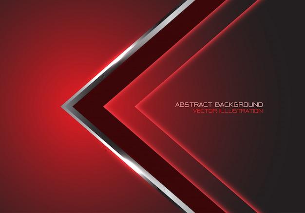 Dirección de velocidad de flecha negra plateada, fondo futurista de lujo rojo oscuro.