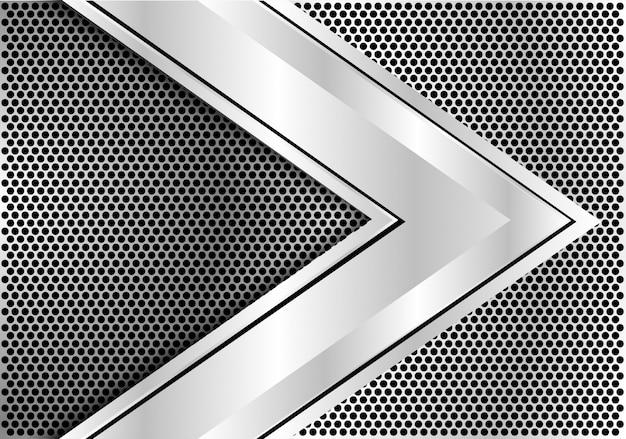 Dirección de velocidad de la flecha de plata sobre fondo de malla de círculo.
