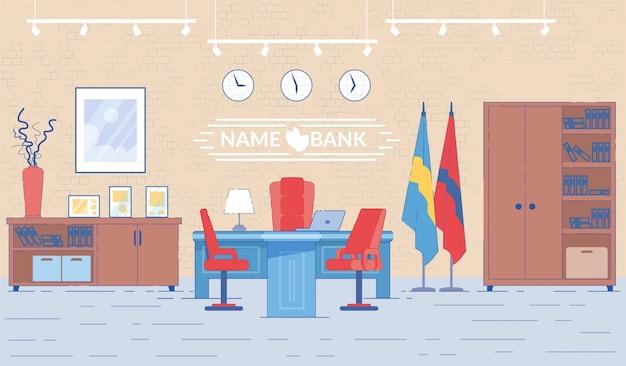 Director del banco oficina interior con mesa.