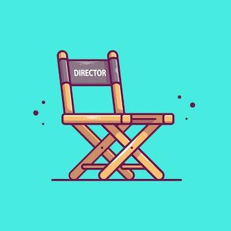 Director de cine silla icono ilustración. concepto de icono de cine de película aislado. estilo plano de dibujos animados