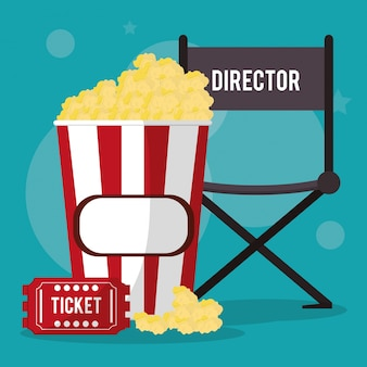 Director de cine silla pop corn y ticket