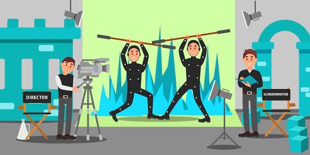 Director, guionista y actores que trabajan en el cine, la industria del entretenimiento, la realización de películas ilustración