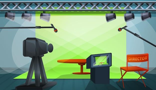 Director ilustración de concepto de producción de película, estilo de dibujos animados