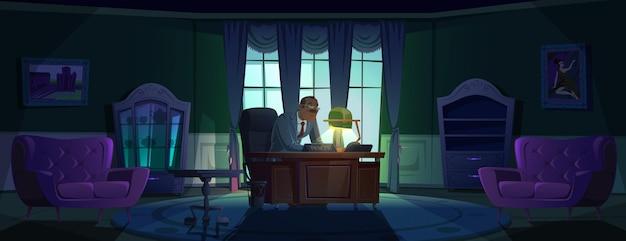 Director en la oficina de noche director o jefe