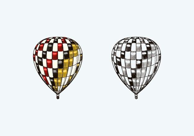 Dirigible volador retro de globo de aire caliente vintage con plantilla de elementos decorativos