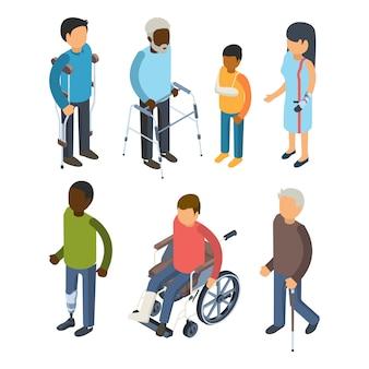 Discapacidades personas isométricas. lesiones inválidas personas defectuosas maggiore sordo cuidado adultos 3d pueblos
