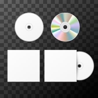Disco compacto blanco en blanco desde dos lados y plantilla de maqueta de portada