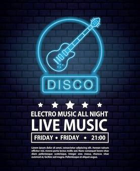Disco electro music invitation poster luces de neón colores