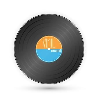 Disco de gramófono vintage aislado en blanco