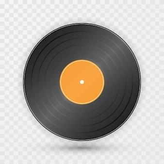 Disco de gramófono vintage sobre fondo transparente
