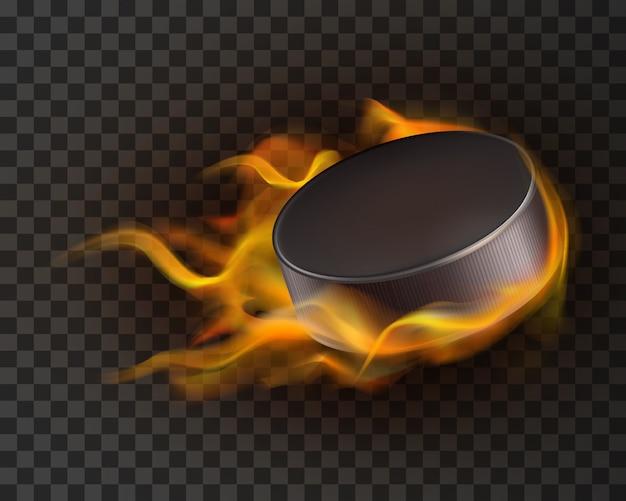 Disco de hockey sobre hielo realista en fuego
