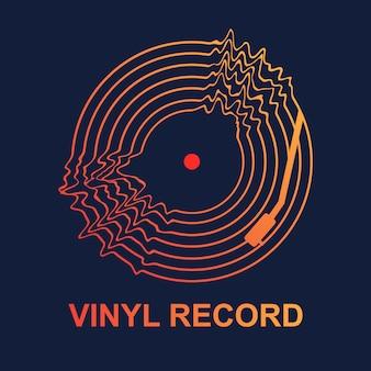 Disco de vinilo abstracto de la música wave.