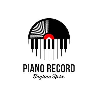 Disco de vinilo y logotipo de instrumento musical de tecla de piano