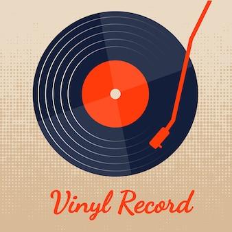 Disco de vinilo de música vectorial con diseño gráfico clásico.