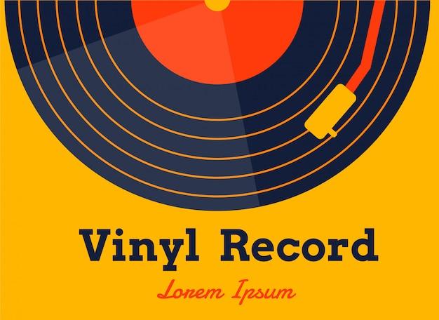 Disco de vinilo musical vector con gráfico amarillo