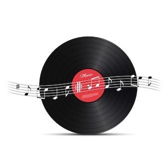Disco de vinilo y onda de nota musical.