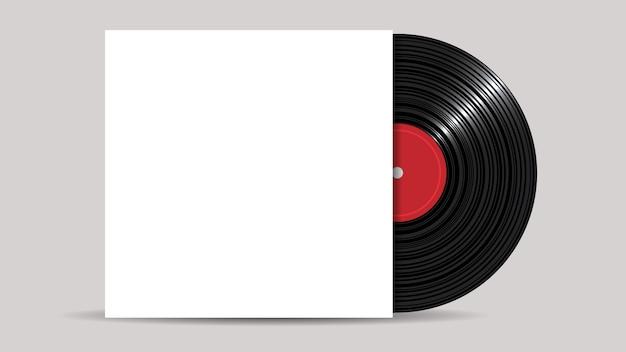 Disco de vinilo con portada en blanco, estilo realista