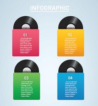 Disco de vinilo con portada infografía maqueta.