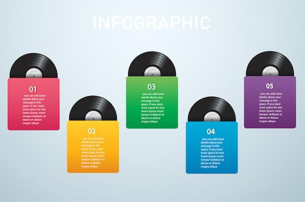 Disco de vinilo con portada infografía vectorial.