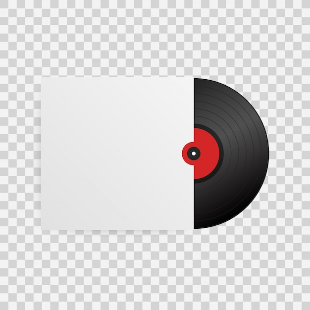 Disco de vinilo realista con tapa
