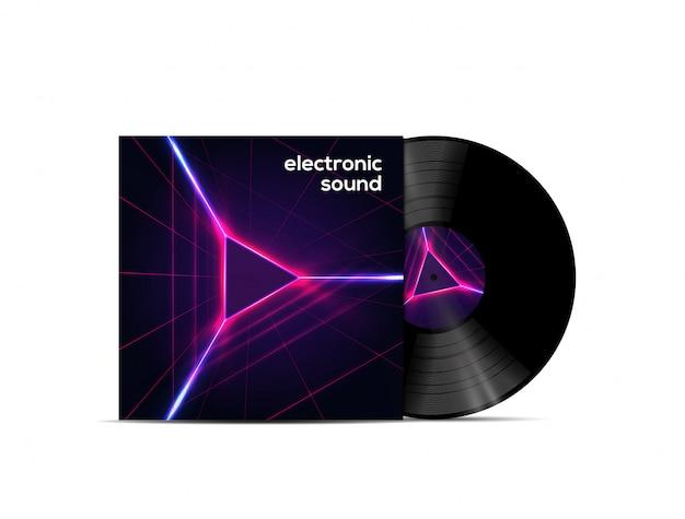 Disco de vinilo de sonido electrónico aislado sobre fondo blanco.