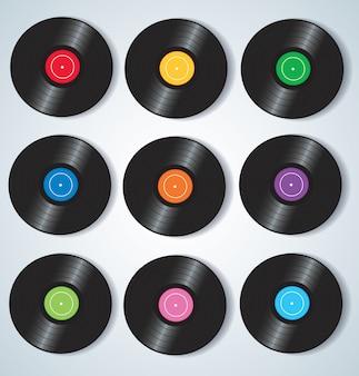 Discos de vinilo coloridos musica